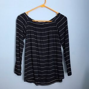 Off the shoulder navy striped top